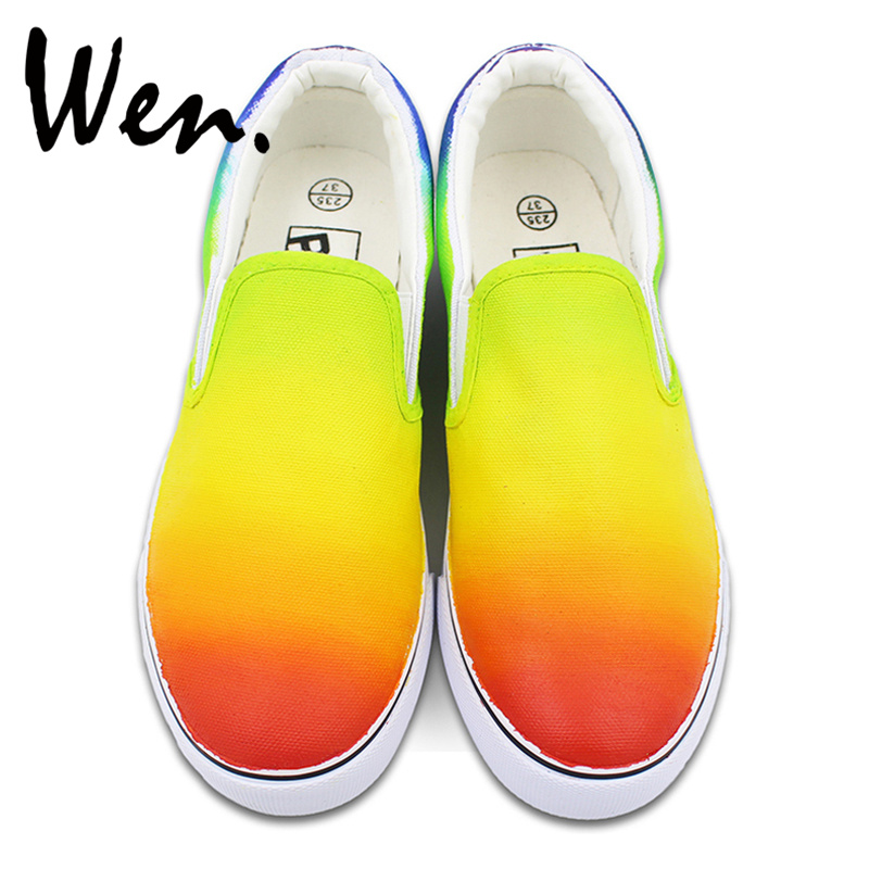 Wen Colorful Hand Painted Shoes Original Design Color Gradient Change Slip on Man Woman's Canvas Sneakers wen original hand painted shoes design rainbow color heart pattern pink slip on canvas sneakers gifts for girls women