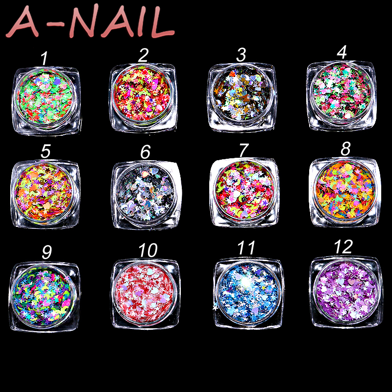 12boxes/set Star Love Sparkle Nail Sequins Paillette Colorful Gold Silver Nail Tips Manicure Nail Art Decorations 12 colors 24 bottles 3d colorful shiny nail glitter powder sequins manicure festival nail art decorations for women
