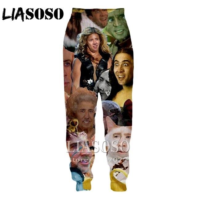 LIASOSO ثلاثية الأبعاد طباعة الرجال النساء الكرتون نيكولاس قفص كامل طول Sweatpants سراويل شتوية أنيمي لطيف عادية مضحك 2019 بنطلون E234