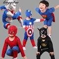 2017 Nuevo Hombre Araña Niños Que Arropan Los Muchachos Spiderman Cosplay Traje de Deporte Para Niños Establece jacket + pants 2 unids. Ropa de los muchachos