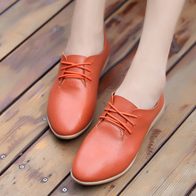 Women's Fashion Pointed Toe Flat Shoes Casual Leisure Shoes Genuine Leather Lace Up Flats for Ladies цены онлайн