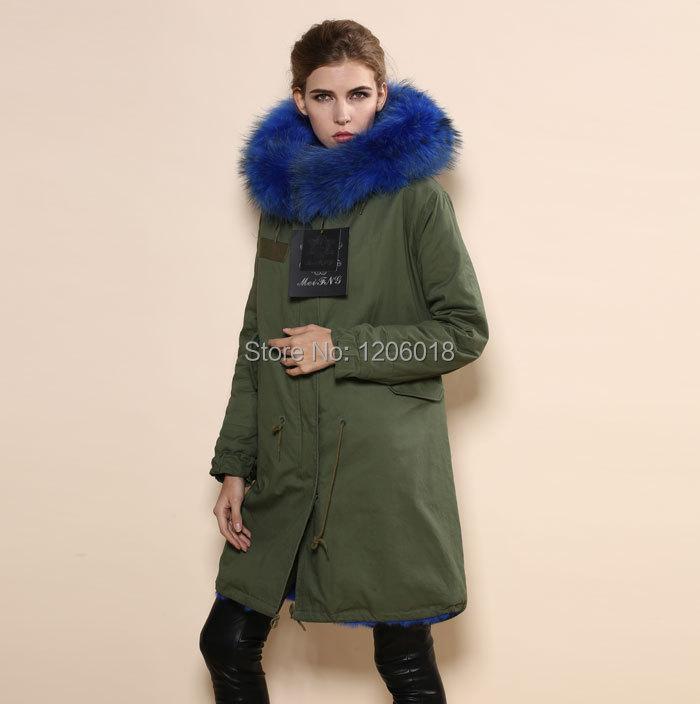 Aliexpress.com : Buy High quality women lake blue fur parka coat ...