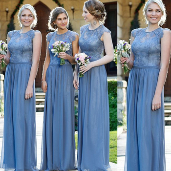 superkimjo lace bridesmaid dresses crew neckline backless a line chiffon floor length long maid of honor dresses cap sleeve