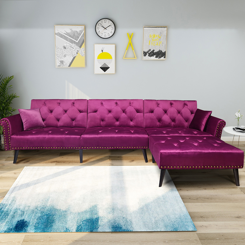 Vintage moderne classique réglable canapé-lit ensemble en bois massif haute résilience éponge siège rétro lisse flanelle surface canapé-lit