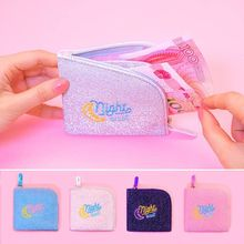 Lanzon Mini Sequins Coin Pocket Purse Embroidery Moon Zipper Small Wallet Girls Shining Storage Case Card Holders Earphone Bags