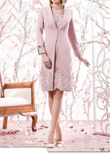 Pink Lace Knee Length Mother Of The Bride Dresses With Long Coat 3 4