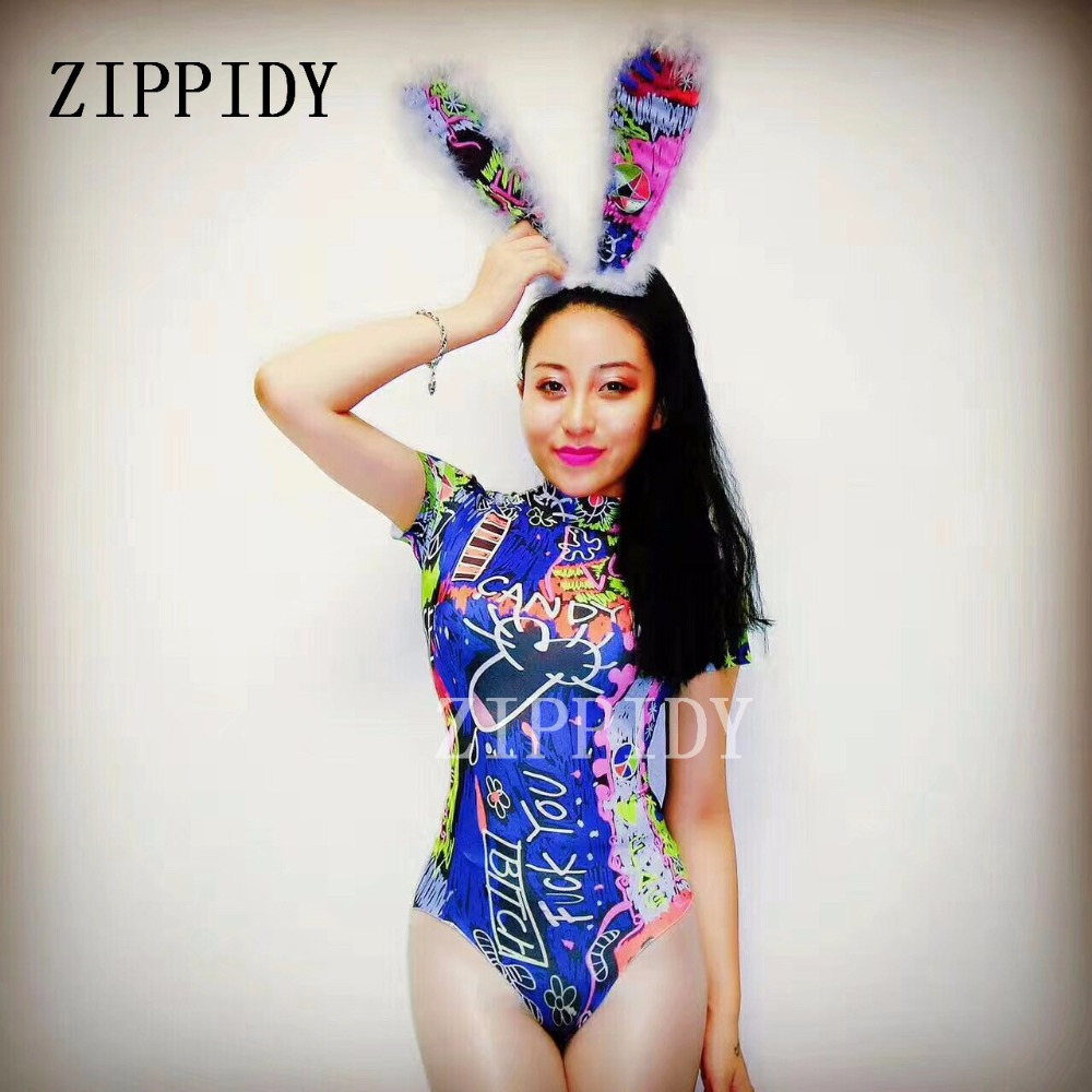 Summer Colorful Cute Rabbit Ears Bodysuit Mulitcolor Leotard Evening Celebrate Outfit Party Costume One piece Design