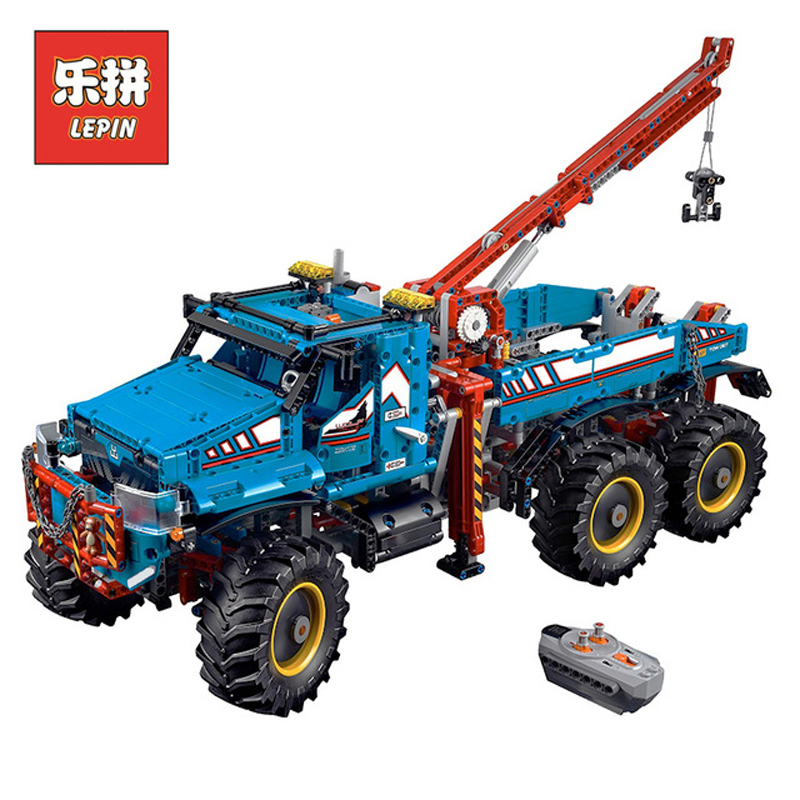 In Stock Lepin Sets 20056 1912Pcs Technic Figures 6x6 All Terrain Tow Truck Model Building Kits Blocks Bricks Kid Toy 42070 Gift lepins 1912pcs technic series the ultimate all terrain 6x6 remote control truck building blocks bricks toys model figures gift