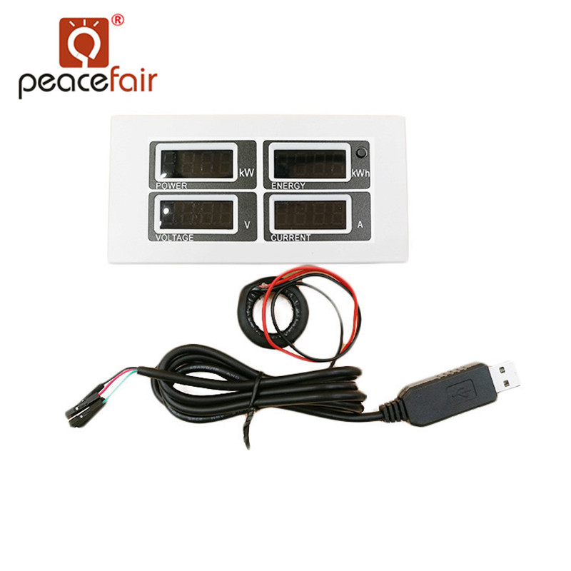 PEACEFAIR PZEM-004 AC LED Voltmetro Amperometro 220 v 100A Corrente Tensione Watt Kwh Elettrico Ampere Meter Con CT Bobina USB cavo