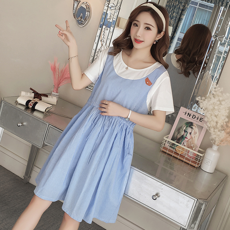 2018 Maternity Clothing Striped Formal Pregnancy Dress Loose Patchwork Chiffon Maternity Clothes For Pregnant Women Vestidos