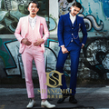 Men's Elegent Pure Color Skinny Single Breasted 3-piece Set Personality Groom Suit / Wedding Photography Suit  847