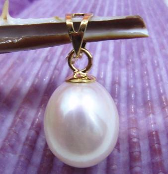Oro AAA 10x12mm blanco natural Sur mar perla colgante