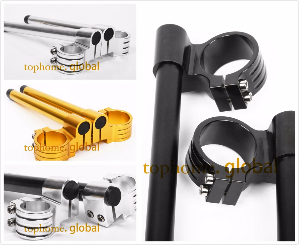 CNC 51mm Riser Clip-Ons hendal Lif pemegang bar Fork Tube One Pair Black / Gold / Silver Motorcycle Handbar Clip Ons Clipon