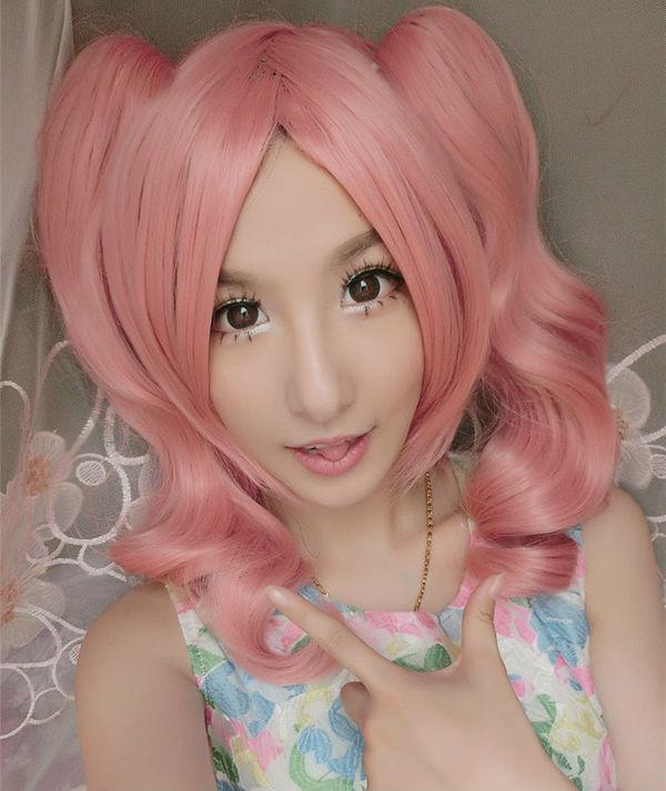Inu x Boku SS Roromiya Karuta Cosplay Wig Loli Fruit pink cartoon wig