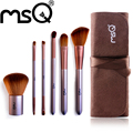 Msq marca 6 unids tamaño de viaje mango de madera + pelo sintético pelo sintético suave maquillaje sistema de cepillo cosmético de moda