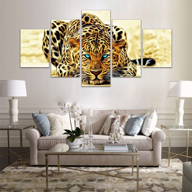 Canvas Wall Art Pictures Home Decor 5 Pieces Animals Leopard Tiger Painting For Living Room Modular