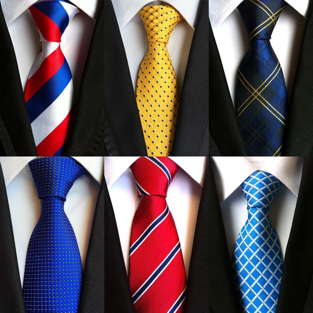New Factory 8cm Men's Classic Tie 100% Silk Gravatta Dot Ties Jacquard Woven Stripes Tie For Men Business Necktie Party Wedding