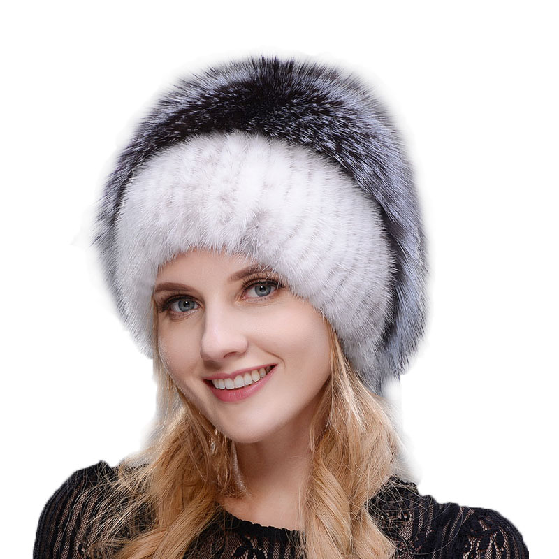 Women New Winter Fur Cap Hooded Head Genuine Mink Fur Hat and Silver Fox Fur Floral