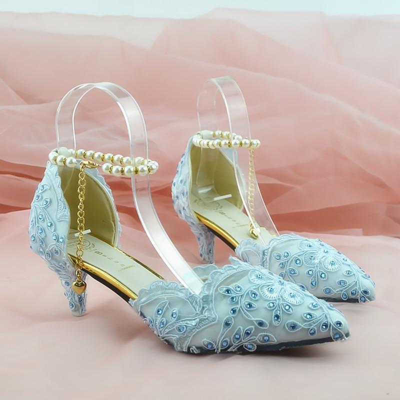 Donna Paio A Sposa Di Blu Scarpe Fiori Mano Alto Diamante Pizzo Tacco Cristallo Fatti Un Da Grandi Lettles Acqua 1OwdPPq