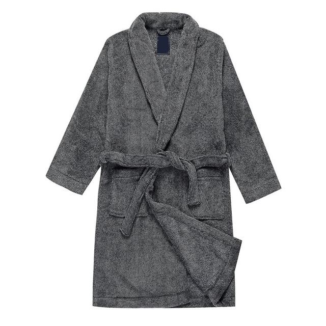 Roupão de banho dos homens de cor cinza escuro estilo simples longos roupões de banho para homens confortável desgaste terry robe para casa interior roupões de banho