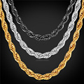U7 Chain For Men Yellow Gold/Black Gun Plated Stainless Steel Necklace Men Twisted Link Chain Wholesale Men Jewelry N248