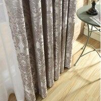 Flor de seda Jacquard negro ventana cortinas para sala de estar dormitorio de Grey de lujo azul marfil cortinas de cocina