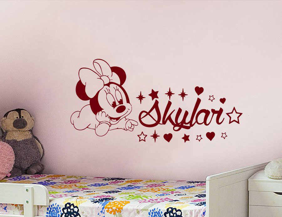 Cute Baby Minnie Mouse Vinyl Decals Cartoon Sticker Personalized