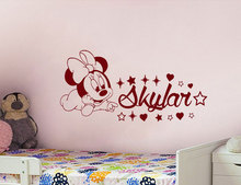 Cute Baby Minnie Mouse Vinyl Decals Cartoon Sticker Personalized Girl Name Decor Bedroom Nursery Room Deco N-38