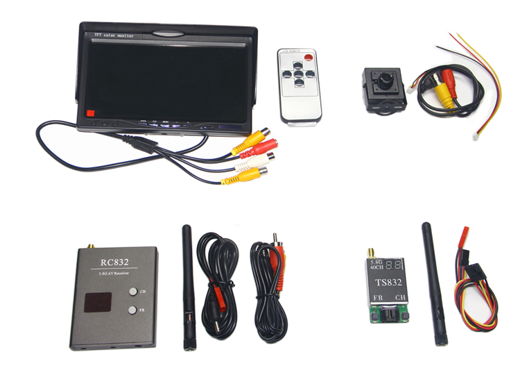 Wireless Audio Video System 5.8Ghz FPV 600mw Transmitter 40Ch Receiver 800x480 Monitor 700TVL Camera Remote Control Toys fpv mini 5 8g 150ch mini fpv receiver uvc video downlink otg vr android phone tablet pc fpv mobile phone display receiver