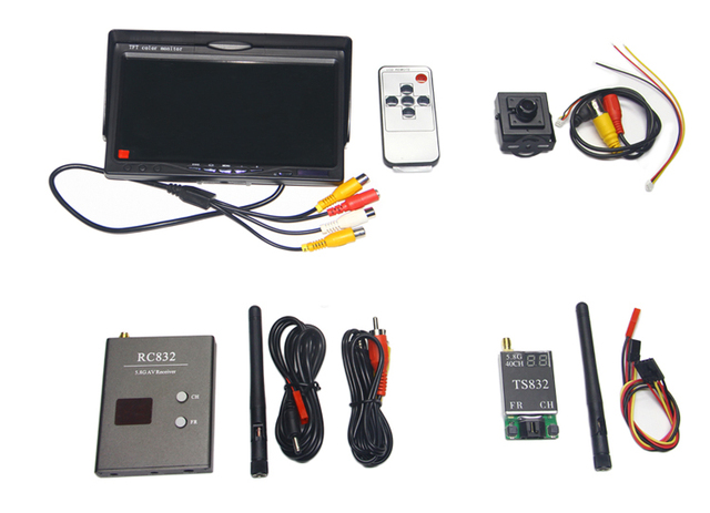 Wireless Audio Video System 5.8Ghz FPV 600mw Transmitter 40Ch Receiver 800x480 Monitor 700TVL Camera Remote Control Toys