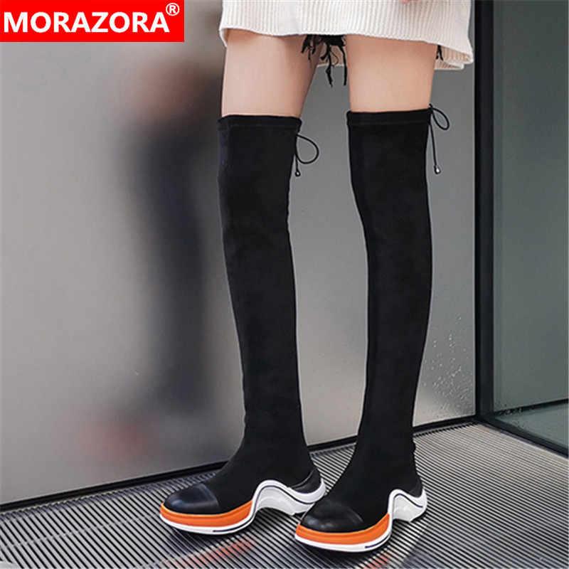 MORAZORA 2020 ขายร้อนรองเท้ายืดของแท้หนังผู้หญิงกว่าเข่ารองเท้าผสมสีแฟชั่นรองเท้าสบายๆรองเท้า