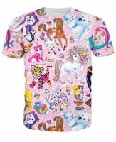Cute Cartoon Tiger/Kitty Cat/Husky/Doge/Horse/Polar bear/Dolphin/Deer/Rainbow Prints tshirts Men Women 3D t shirt Pink Tees Tops