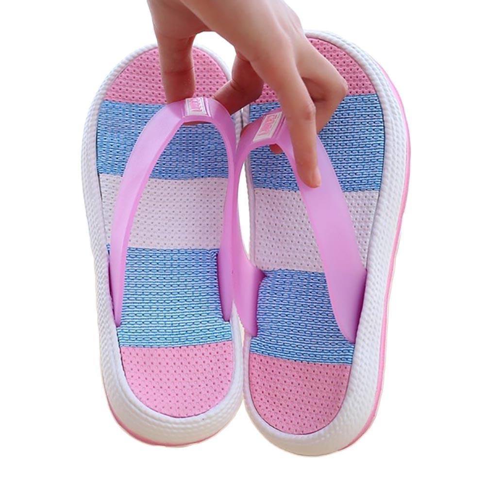 Summer Beach Women's Color Block Thick Soled Anti-skid Sandals Flip Flops Slippers