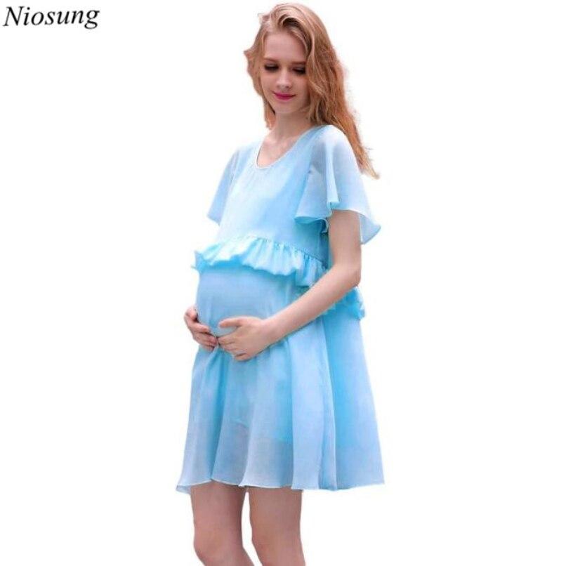 Niosung Fashion Pregnant Women Summer Chiffon Short Sleeve Pure Color Dress Chiffon Pregnant Woman Dress