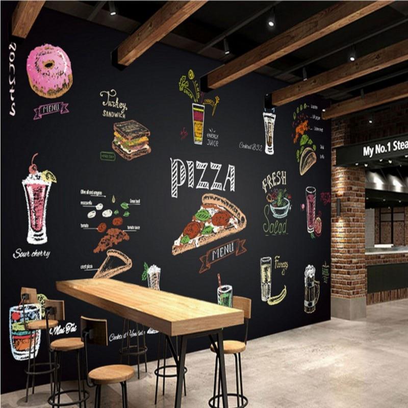 Fototapete Handgemalte Kreide Pizza Saft Wandgemalde Benutzerdefinierte Restaurant Fastfood Restaurant Tapete Hochwertigen Wandbild In Fototapete
