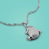 Female 925 Sterling Silver Necklace Cute Frog Pendant Design Women Popular Clavicle Necklace Solid Silver Jewelry