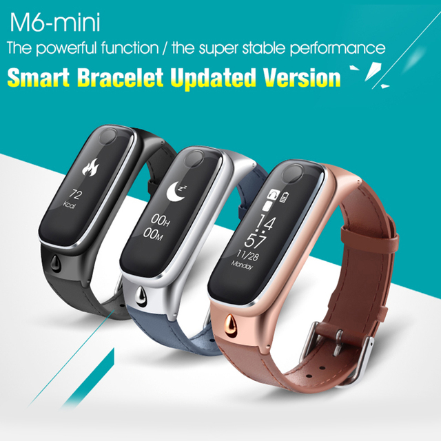 Mini M6 Sports SmartBand OLED Bluetooth 4.0 Smart Bracelet Band Watch Earphone Sleep Monitor Fitness Tracker for IOS Android