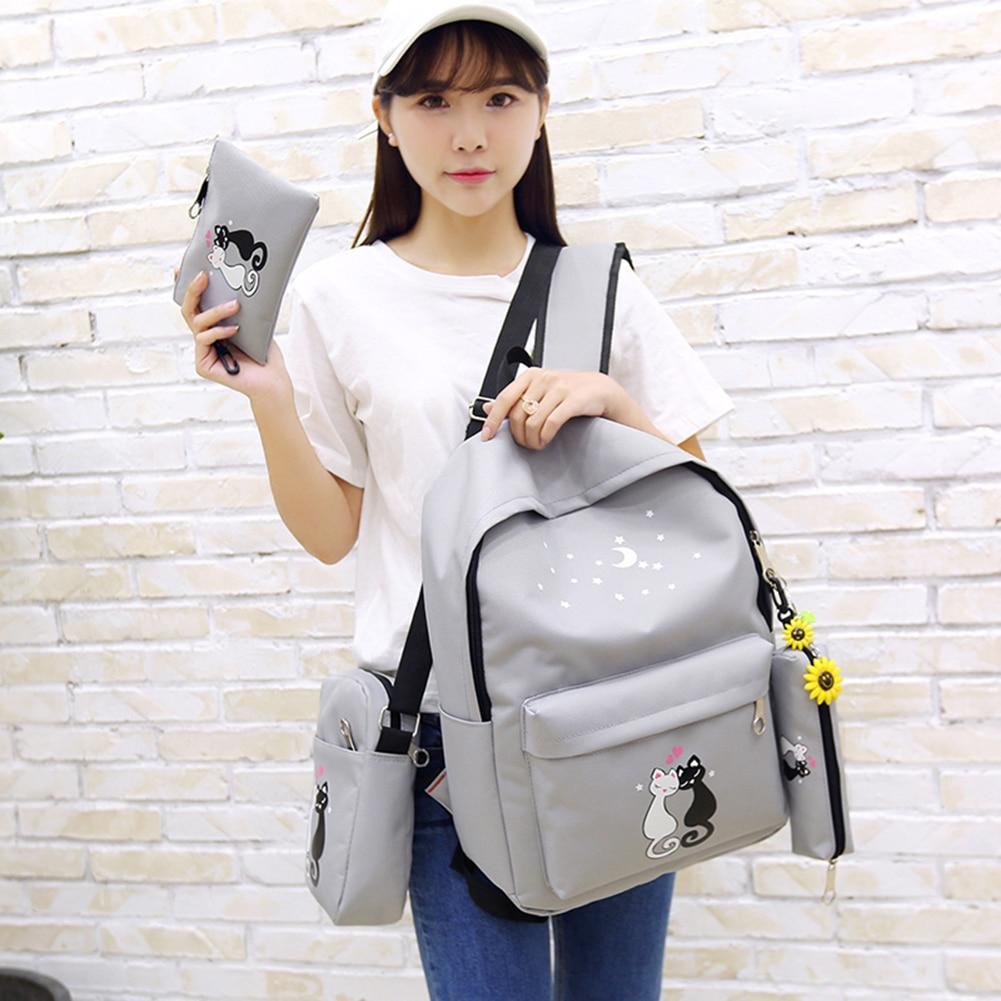 4pcs/set Canvas Women Backpack Schoolbag Printing Cute Cat School Bag Bagpack For Teenager Girls Sac A Dos Mochila Feminina #6