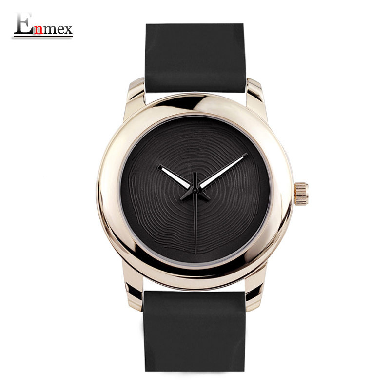 Gift Enmex creative style lady wristwatch gloden 3D vortex face creative design silicone band Luminous brief casual quartz watch 2017 gift enmex creative simple design brief face with a red pointer steel band water prof young and fashion quartz watch