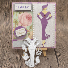 Beautiful Lady Woman Cutting Dies For Scrapbooking Album Birthday Card Anniversary Day Gift Decoration