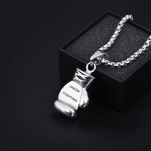 Personalized Engraved Names Fitness Boxing Gloves Accessories Men Stainless Steel Necklaces & Pendants