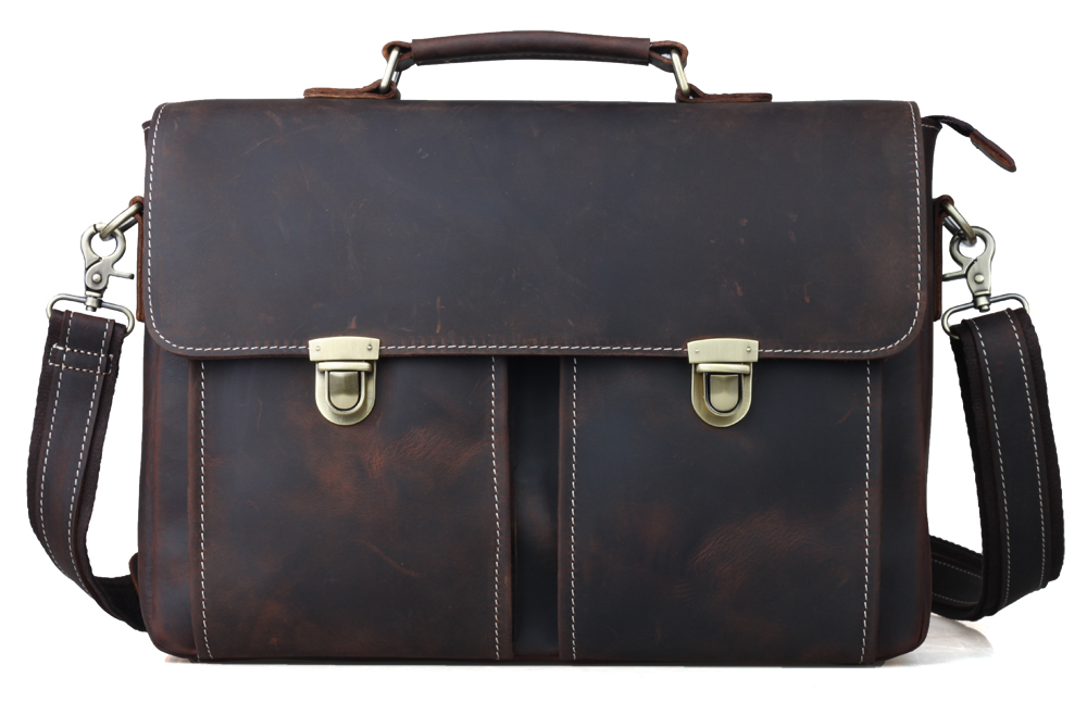 TIDING Men Genuine Leather Portfolio Office Bag Authentic Designer Handbags Vintage Style Briefcase 1119