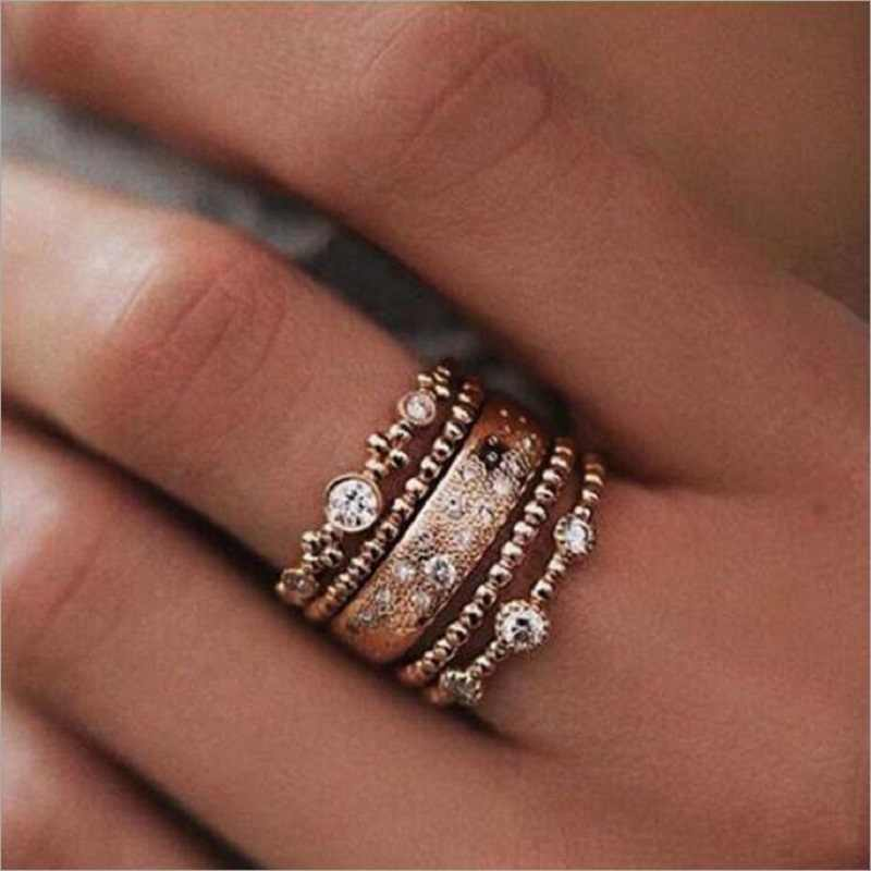 5PCS/Set Fashion Women Lady Rose Gold Metal Rhinestone Crystal Elegant Rings Wave Shape Ring Set Jewelry drop shipping