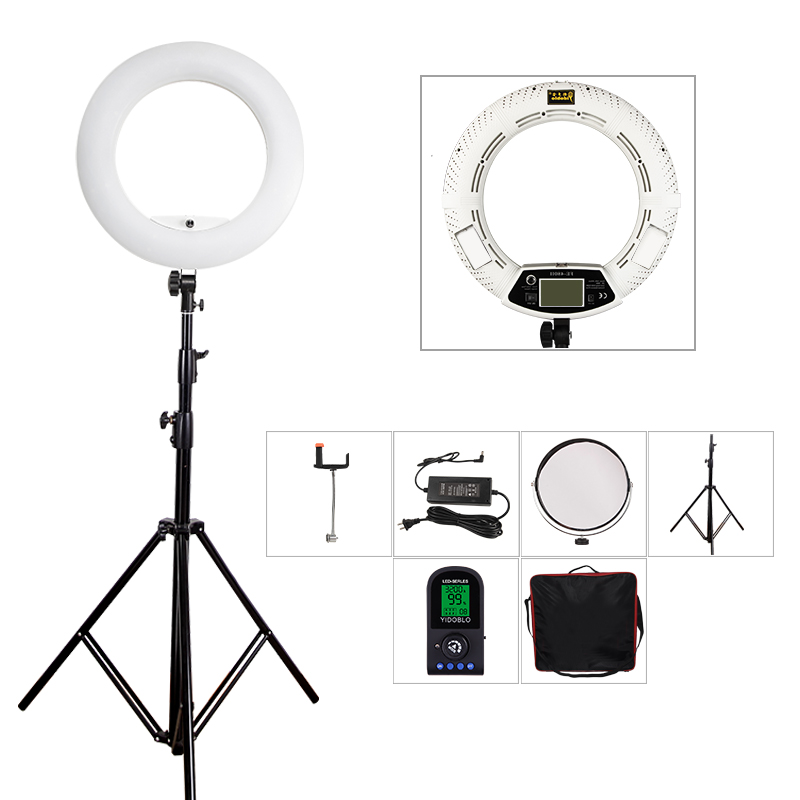 Yidoblo FE-480II White Photo Studio LED Ring Light lamp+ bag + tripod set Lamp RC Photographic Lighting 5500K 480LED Lights