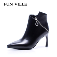 FUN VILLE 2017 Autumn Winter Women Ankle Boots Genuine Leather High Heel Solid Pointed Toe Zipper