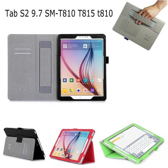 first rate 080a0 aac35 US $12.59 10% OFF|Hand Strap Case For Samsung Galaxy Tab S2 9.7 T810 T815  SM T810 Case Card PU Leather Stand Smart Cover For Samsung T815 T810-in ...