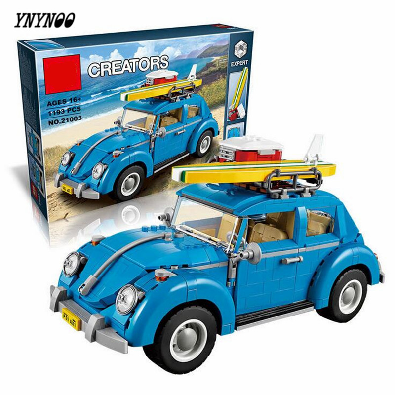 YNYNOO LEPIN 21003 Creator Series City Car Volkswagen Beetle Building Blocks Model Compatible 10252 Blue Technic Toys car usb sd aux adapter digital music changer mp3 converter for volkswagen beetle 2009 2011 fits select oem radios