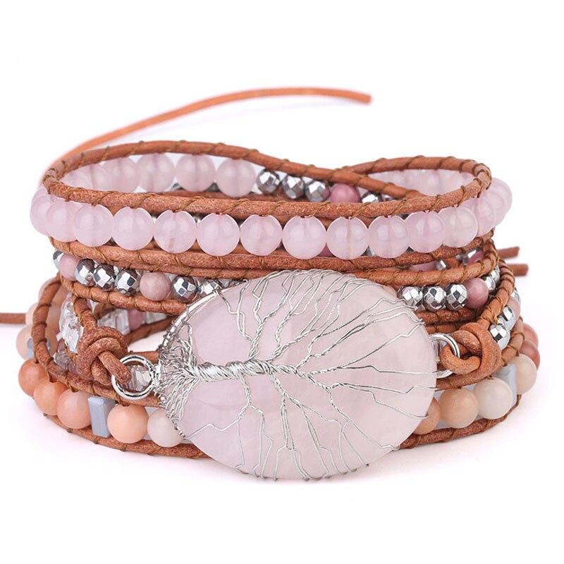 Bracelet en cristal rose naturel fait main arbre de vie Bracelet en cristal rose perle de 6mm perles en pierre naturelle rose Bracelet en cuir