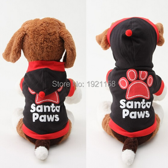 Fashion Pet Dog clothes Dog cat Santa Paws Clothes Pullover Warm Costumes Puppy Coat wholesale