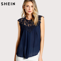 SHEIN Elegant Women Blouses Keyhole Back Daisy Lace Shoulder Shell Top Navy Sleeveless Contrast Lace Asymmetrical